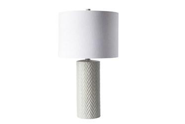 Table Lamp-White Chevron Ceramic