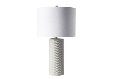 Table Lamp-White Chevron Ceramic
