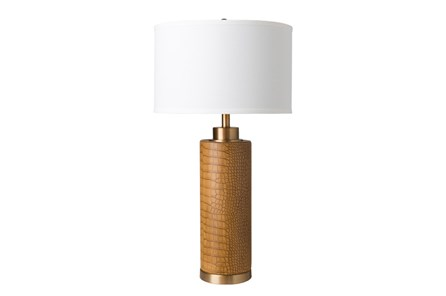 Table Lamp-Faux Croc Tan