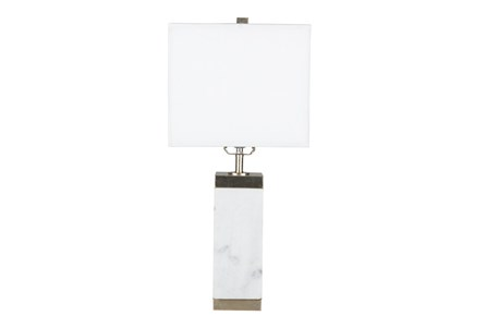 Table Lamp-White Marble Square Column