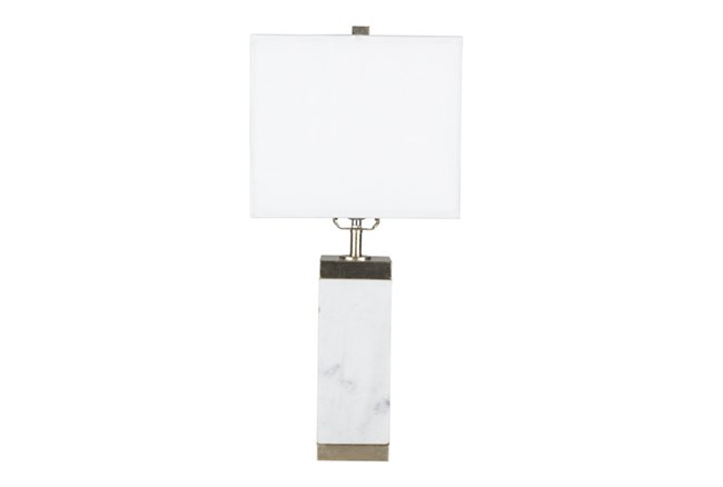 Table Lamp-White Marble Square Column - 360