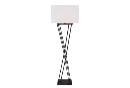 Floor Lamp-Black Brass X Base