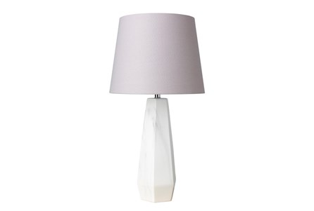 Table Lamp-White Faux Marble Grey Shade