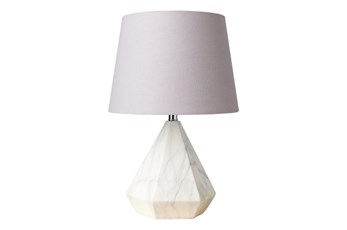 Table Lamp-White Faux Marble Grey Shade Short