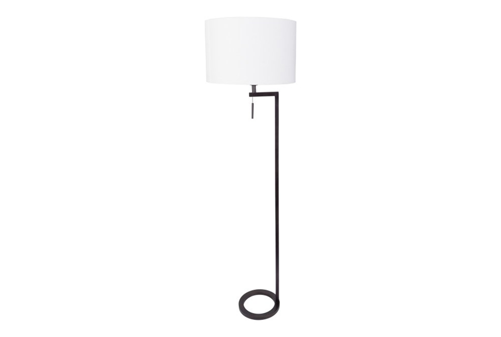 Floor Lamp-Black Brass Ring
