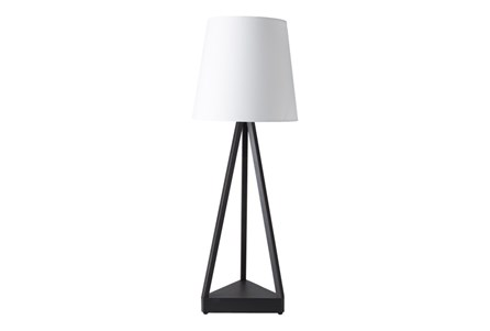 Outdoor Table Lamp-Iron Pyramid White Shade