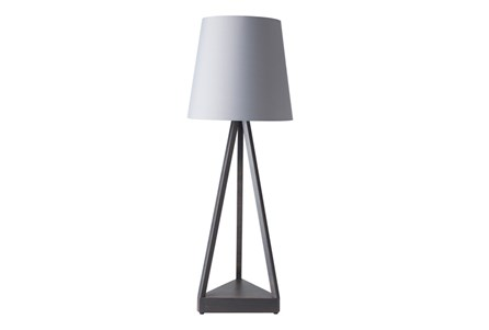 Outdoor Table Lamp-Iron Pyramid Grey Shade
