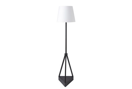 Outdoor Floor Lamp-Iron Pyramid White Shade