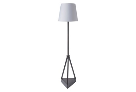 Outdoor Floor Lamp-Iron Pyramid Grey Shade