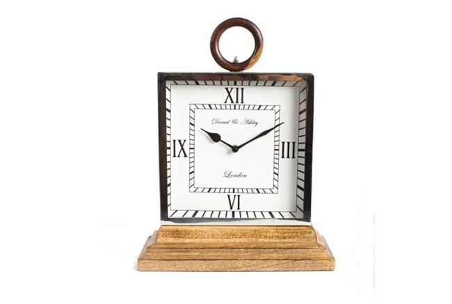 Metal And Wood Table Clock - 360