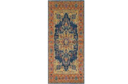"2'6""x7'3"" Rug-Ivete Medallion Blue/Orange"