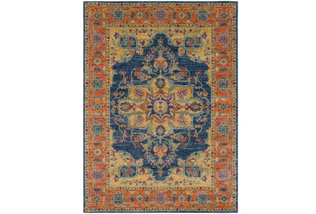 63X87 Rug-Ivete Medallion Blue/Orange - 360