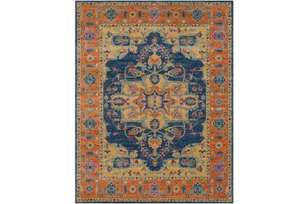 94X123 Rug-Ivete Medallion Blue/Orange