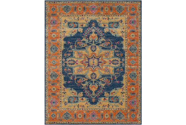 94X123 Rug-Ivete Medallion Blue/Orange - 360
