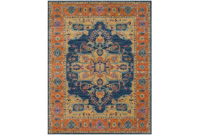 111X150 Rug-Ivete Medallion Blue/Orange - 360