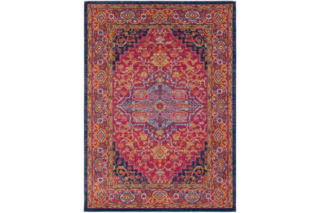 63X87 Rug-Ivete Medallion Garnet/Orange - 360