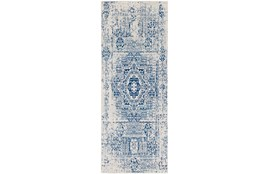 "2'6""x7'3"" Rug-Ivete Antique Medallion Dark Blue"