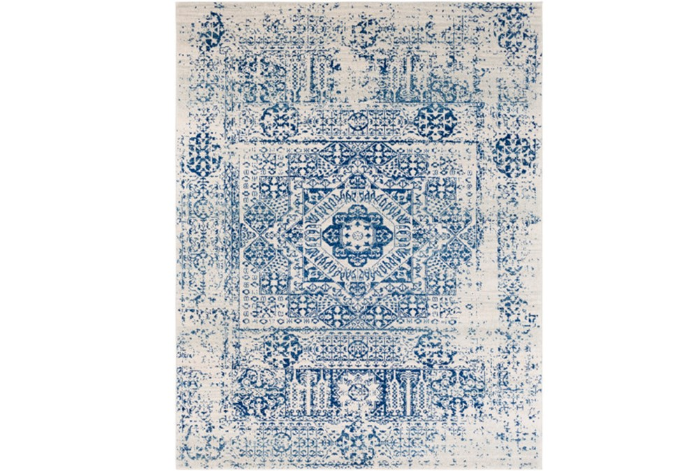 "9'2""x12'5"" Rug-Ivete Antique Medallion Dark Blue"