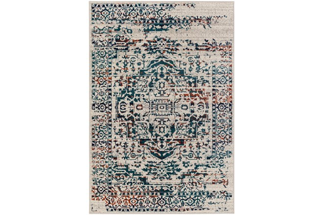 22X35 Rug-Khione Erased Traditional Teal/Orange - 360