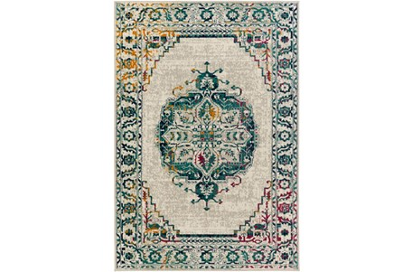 94X118 Rug-Khione Medallion Teal/Multi