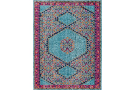 24X36 Rug-Amori Hexagon Medallion Teal/Raspberry