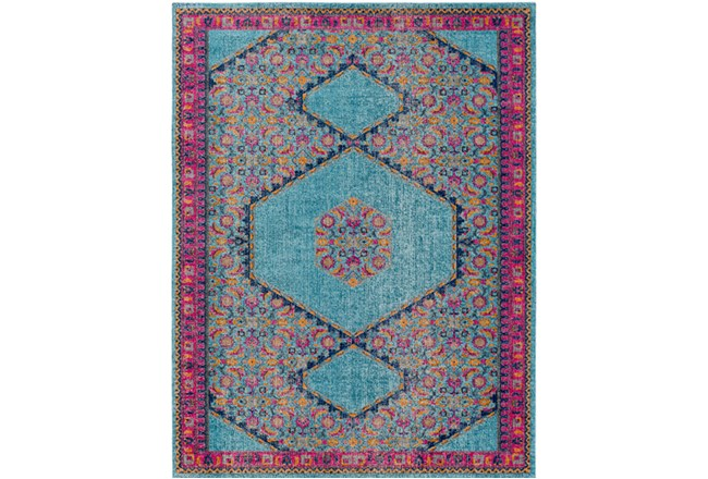 24X36 Rug-Amori Hexagon Medallion Teal/Raspberry - 360