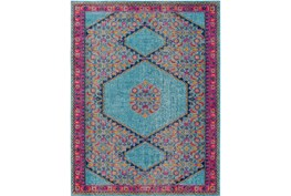 63X87 Rug-Amori Hexagon Medallion Teal/Raspberry