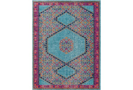 94X123 Rug-Amori Hexagon Medallion Teal/Raspberry