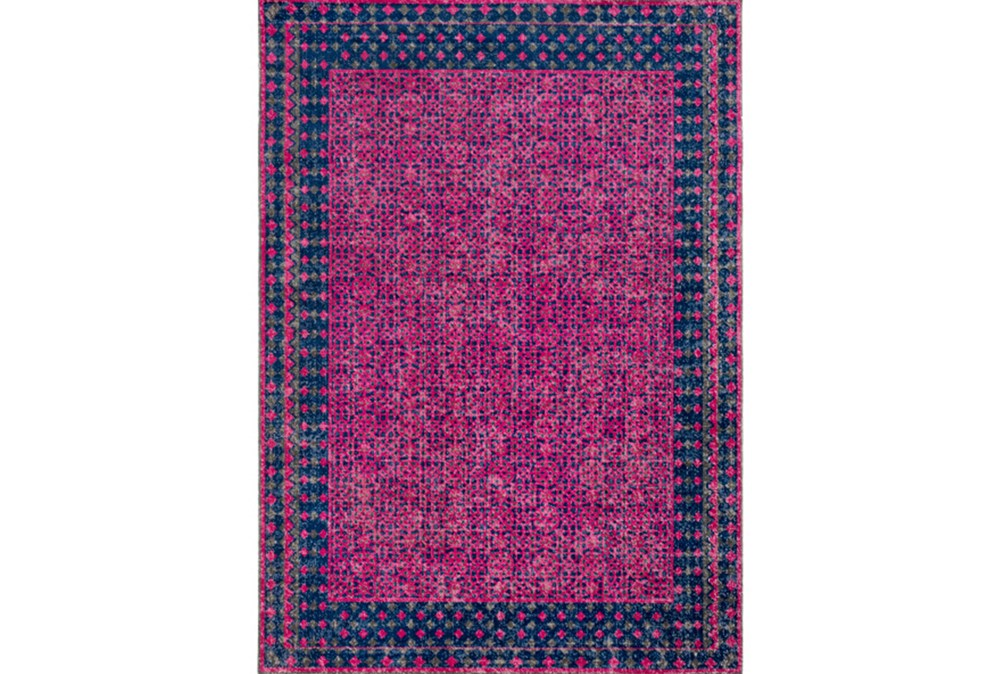 63X87 Rug-Amori Border Raspberry/Dark Blue