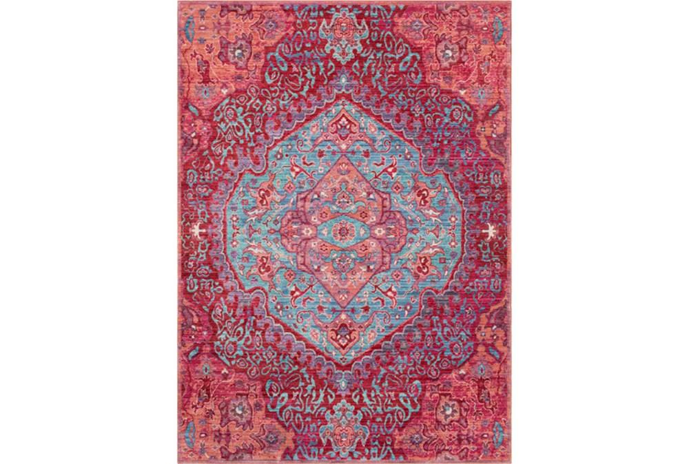 63X90 Rug-Odette Medallion Bright Pink/Aqua