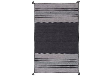 24X36 Rug-Tassel Cotton Flatweave Black