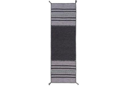 30X96 Rug-Tassel Cotton Flatweave Black