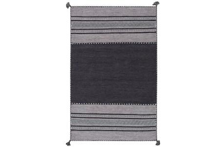 60X90 Rug-Tassel Cotton Flatweave Black