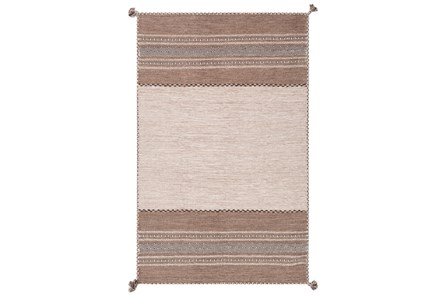 24X36 Rug-Tassel Cotton Flatweave Camel