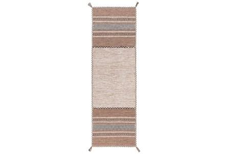30X96 Rug-Tassel Cotton Flatweave Camel