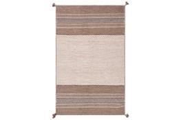 96X120 Rug-Tassel Cotton Flatweave Camel