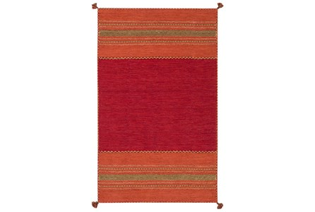 24X36 Rug-Tassel Cotton Flatweave Orange