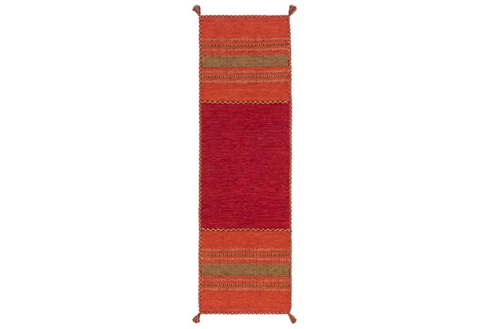 30X96 Rug-Tassel Cotton Flatweave Orange
