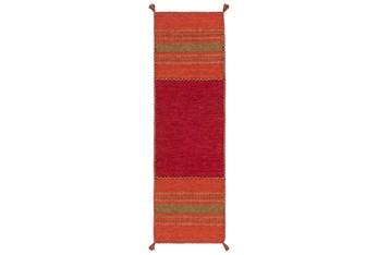 """2'5""""x8' Rug-Tassel Cotton Flatweave Orange"""