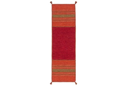30X96 Rug-Tassel Cotton Flatweave Orange