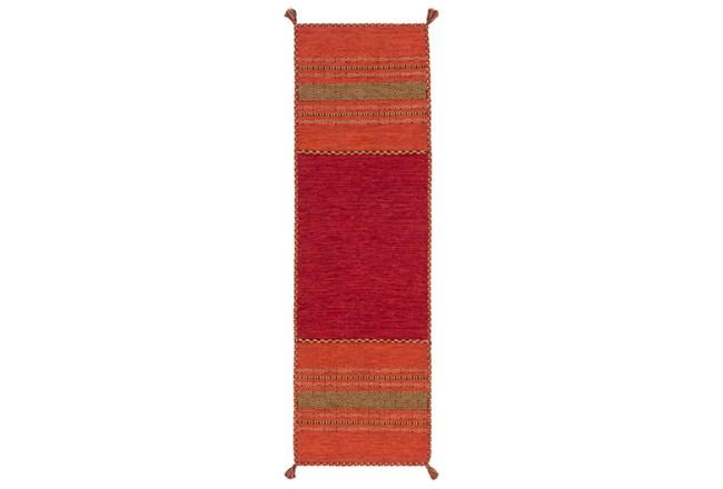 30X96 Rug-Tassel Cotton Flatweave Orange - 360