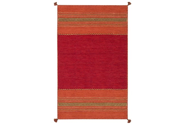 48X72 Rug-Tassel Cotton Flatweave Orange - 360