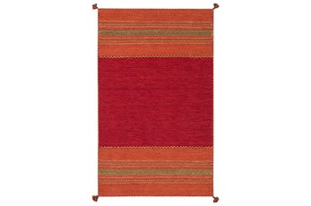 "5'x7'5"" Rug-Tassel Cotton Flatweave Orange"
