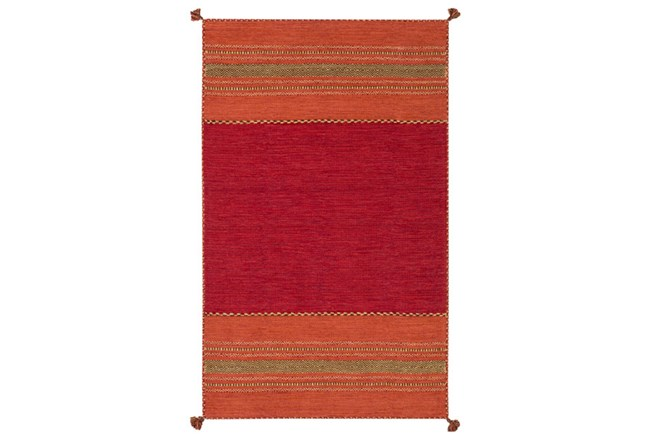 96X120 Rug-Tassel Cotton Flatweave Orange - 360