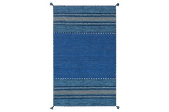 24X36 Rug-Tassel Cotton Flatweave Blue