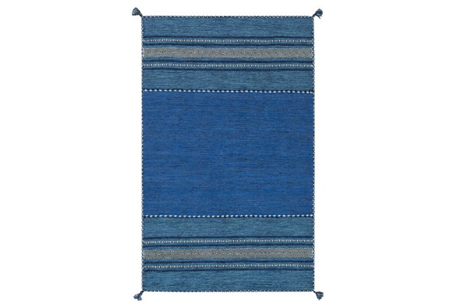 24X36 Rug-Tassel Cotton Flatweave Blue - 360