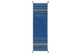 30X96 Rug-Tassel Cotton Flatweave Blue