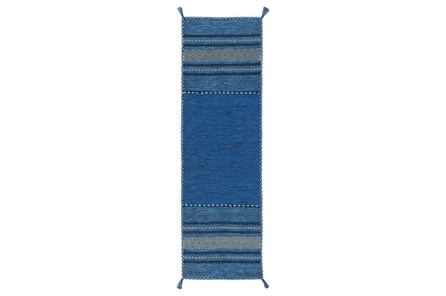 30X96 Rug-Tassel Cotton Flatweave Blue