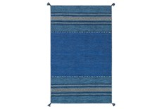48X72 Rug-Tassel Cotton Flatweave Blue