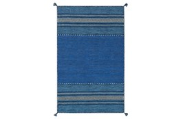 "5'x7'5"" Rug-Tassel Cotton Flatweave Blue"